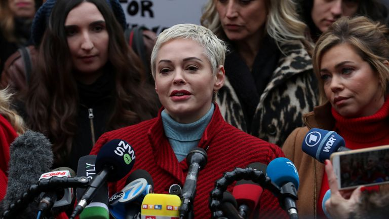Rose McGowan speaks outside court on the first day of Weinstein's trial in January