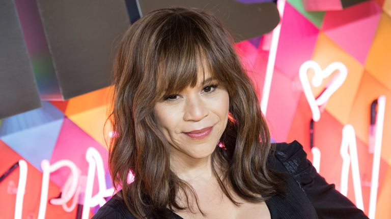 "LONDON, ENGLAND - JANUARY 29: Rosie Perez attends the ""Birds of Prey: And the Fantabulous Emancipation Of One Harley Quinn"" World Premiere at the BFI IMAX on January 29, 2020 in London, England. (Photo by Jeff Spicer/Getty Images)"