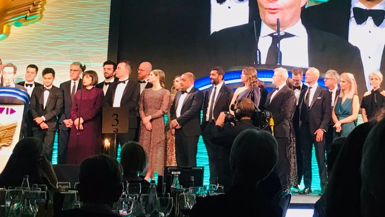Sky News wins an RTS award for News Channel of the Year. Pic: Neil Dunwoodie