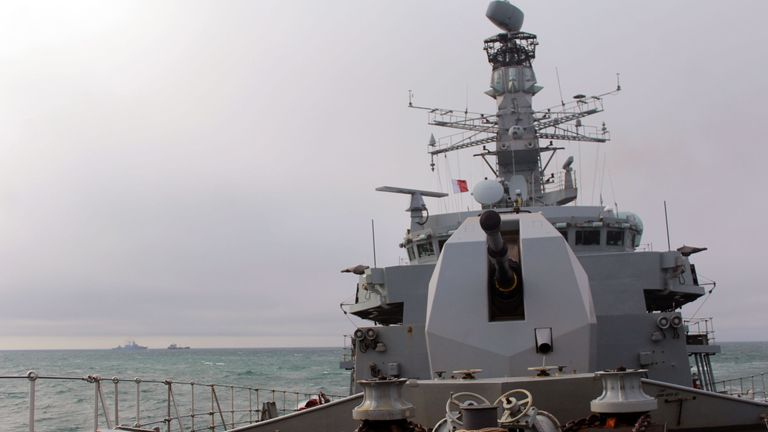 HMS Sutherland, pictured, led the monitoring effort
