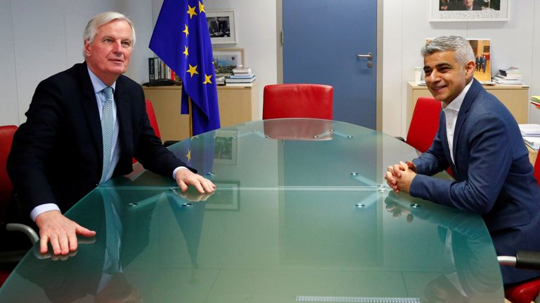 London mayor Sadiq Khan met with EU chief Brexit negotiator Michel Barnier