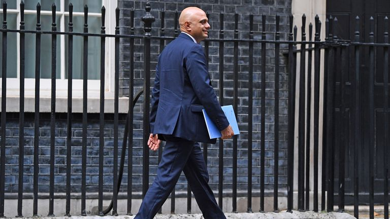 Chancellor of the Exchequer, Sajid Javid, leaves his official residence at 11, Downing Street, in London, to make a statement to Parliament  4/9/2019