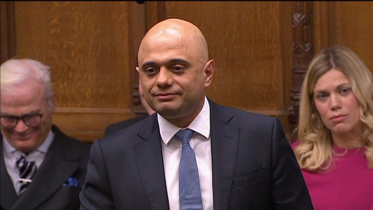 Sajid Javid talking in the House of Commons.