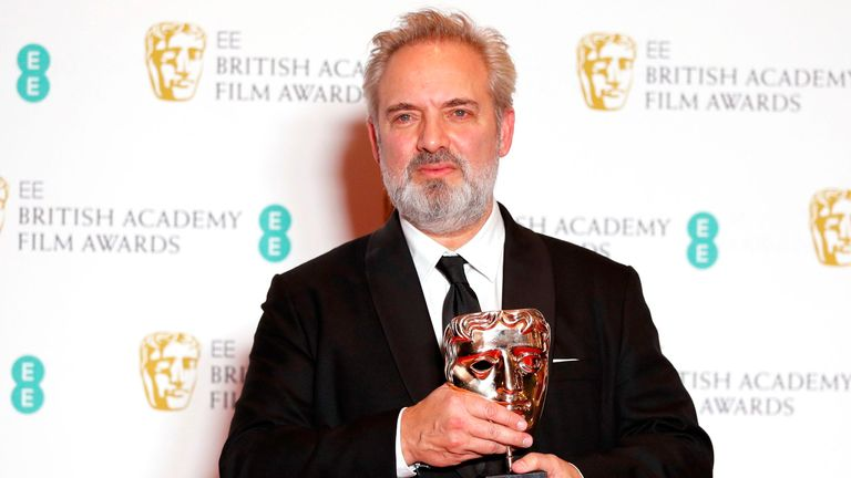 1917 director Sam Mendes with one of his BAFTA awards