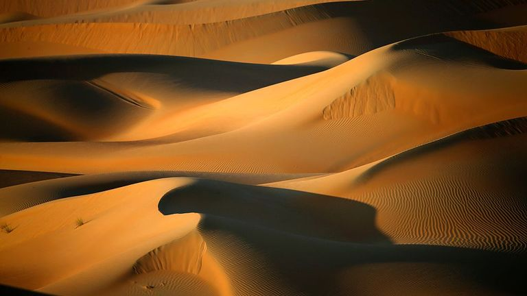 A general view shows dunes in the Liwa Oasis, southwest of the Emirati capital, Abu Dhabi, on December 1, 2015. / AFP / KARIM SAHIB (Photo credit should read KARIM SAHIB/AFP via Getty Images)