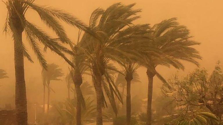Undated handout photo issued by Sophie Barley of a sandstorm outside of a hotel in Tenerife, on the Canary Islands. PA Photo. Issue date: Sunday February 23, 2020. British holidaymakers are stranded at airports in the Canary Islands after a Saharan sandstorm. Flights from Gran Canaria, Lanzarote, La Palma, North and South Tenerife Airports have been grounded for the foreseeable future due to the weather conditions. See PA story TRAVEL Sandstorm. Photo credit should read: Sophie Barley/PA Wire NO