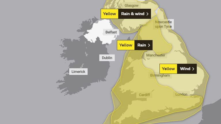 Saturday's weather warnings as Storm Dennis arrives. Pic: Met Office