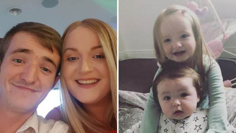 Rhys and Gemma Cousin and their daughters Peyton, three, and Heidi, one, died in the crash. Pic: Police Scotland