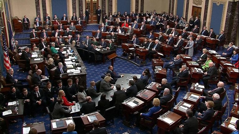 The Senate is voting on whether or not to remove Mr Trump from office