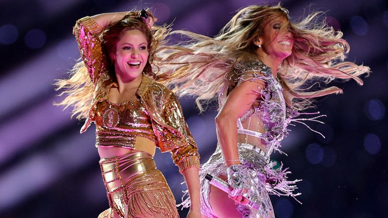 MIAMI, FLORIDA - FEBRUARY 02: Singers Shakira and Jennifer Lopez perform during the Pepsi Super Bowl LIV Halftime Show at Hard Rock Stadium on February 02, 2020 in Miami, Florida. (Photo by Rob Carr/Getty Images)