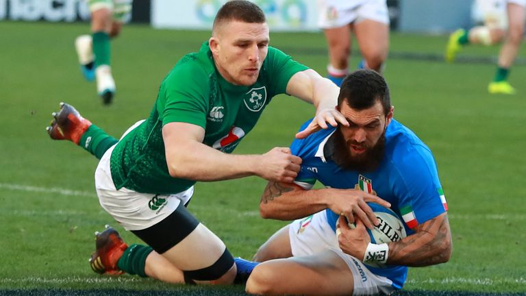 Italy (in blue playing Italy in 2019) are facing calls to postpone their Six Nations game in Dublin
