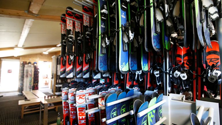 Racks of ski gear at Christophe Esparseil's shop