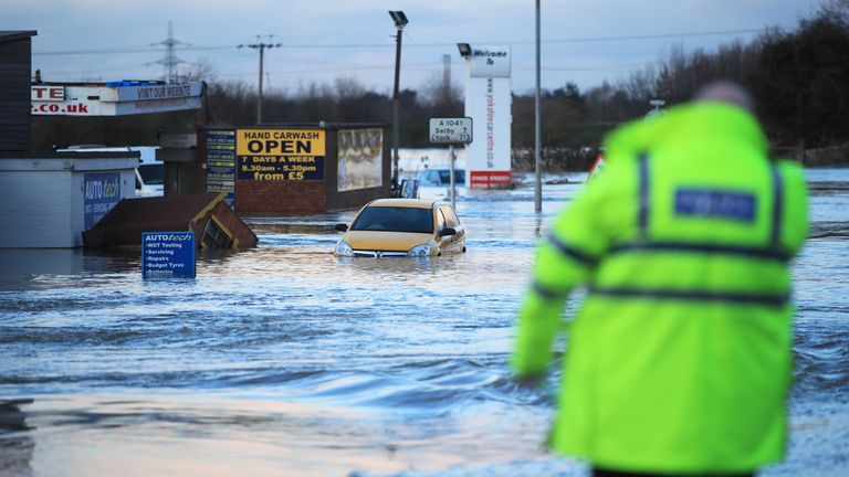 Flooding in the town of Snaith in East Yorkshire after the River Aire burst its banks