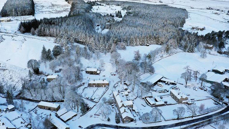 The village of Allenheads in Northumberland has been blanketed with snow