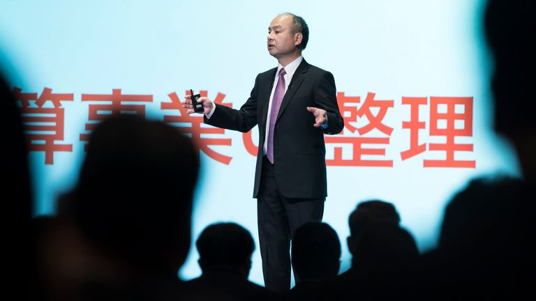 SoftBank Group Corp. Chairman and Chief Executive Officer Masayoshi Son speaks during a press conference on November 6, 2019 in Tokyo, Japan