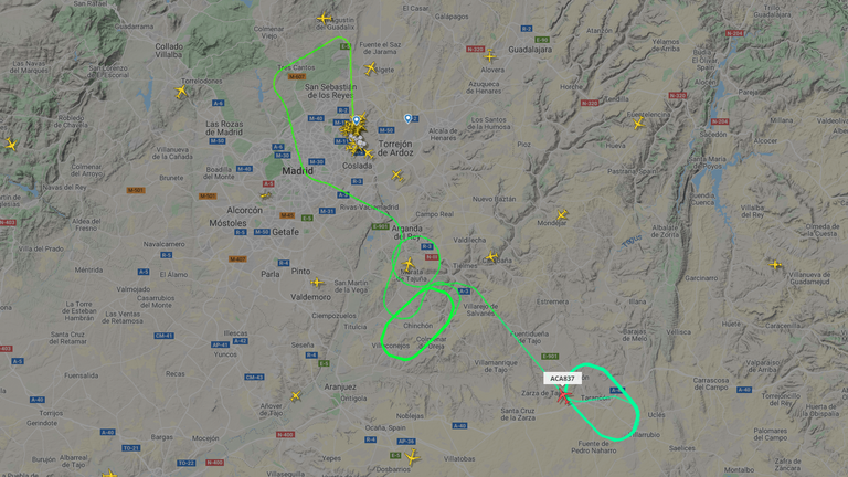 The flight is trying to burn fuel before making an emergency landing. Pic: Flight Radar