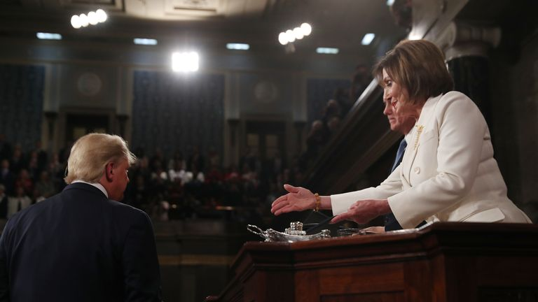 Donald Trump refused to shake Nancy Pelosi's hand before his State of the Union speech
