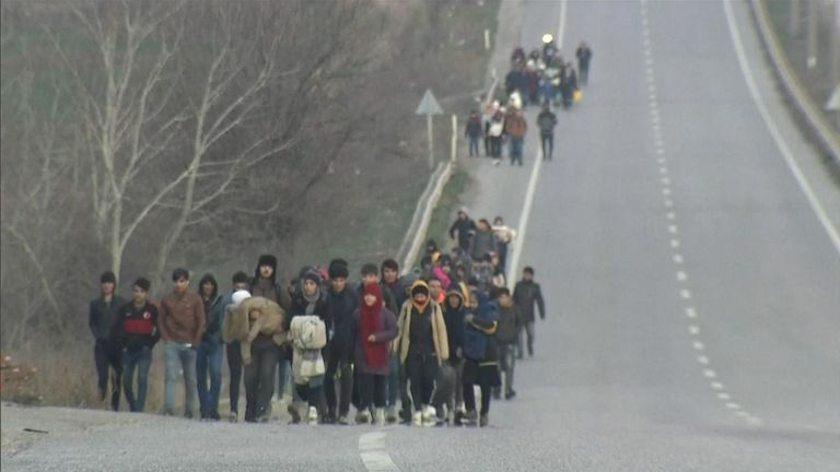 Migrants and refugees in Turkey hope to cross border into Greece.