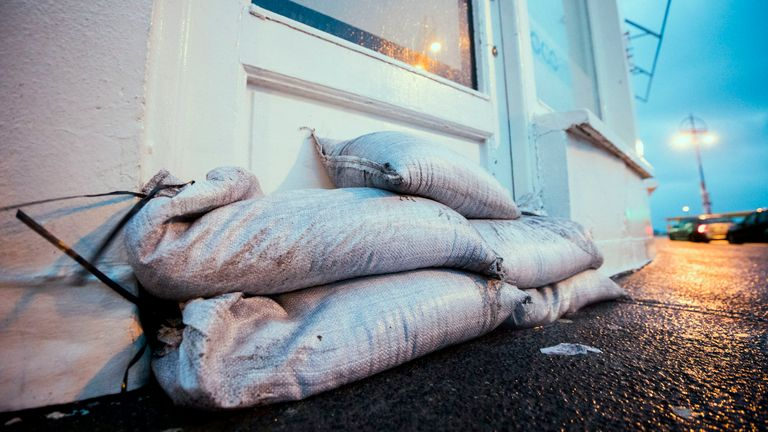 Sandbags are place the entrance to Coco Cafe Salthill, Co. Galway as the UK and Ireland brace for Storm Ciara. PA Photo. Picture date: Saturday February 08, 2020. See PA story WEATHER Storm Ireland. Photo credit should read: Liam McBurney/PA Wire