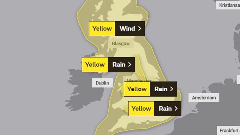 The whole of the UK is expected to be affected on Sunday. Pic: Met Office