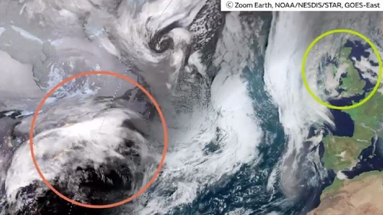 The red circle shows Storm Ciara is currently over the USA