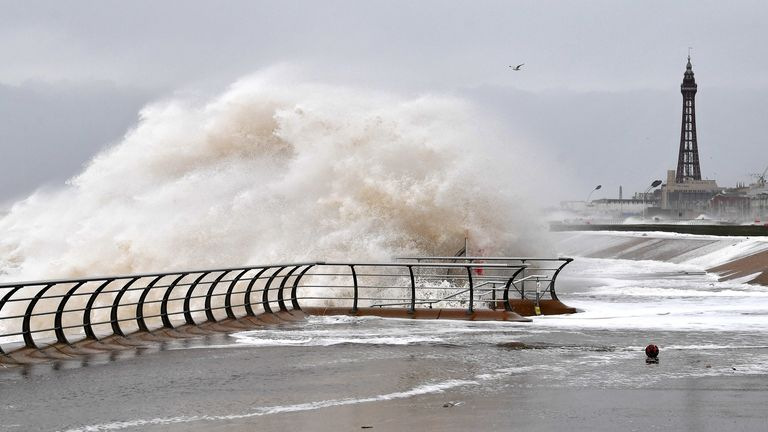 High winds caused by Storm Ciara saw large waves on the beach in Blackpool