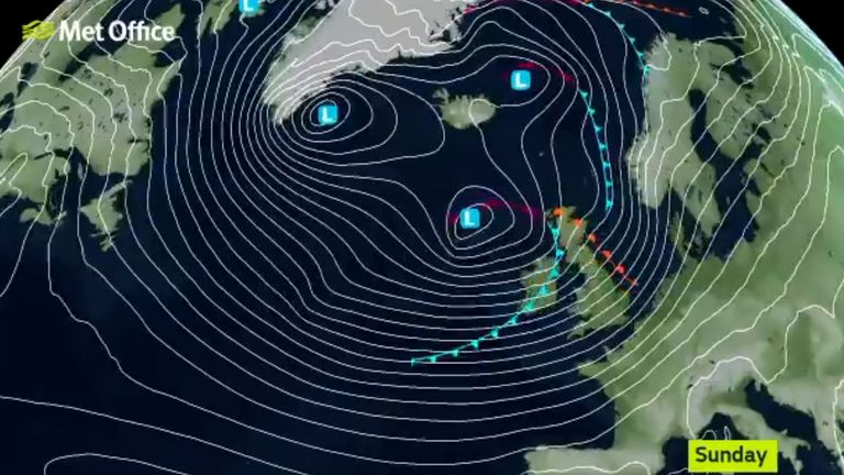 Storm Ciara will barge through the UK this weekend. Pic: Met Office