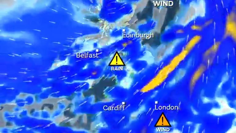 The Met Office has issued an amber 'danger to life' warning for Sunday as Storm Ciara batters the UK