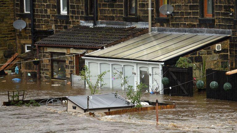 Flooded homes in Mytholmroyd, West Yorkshire