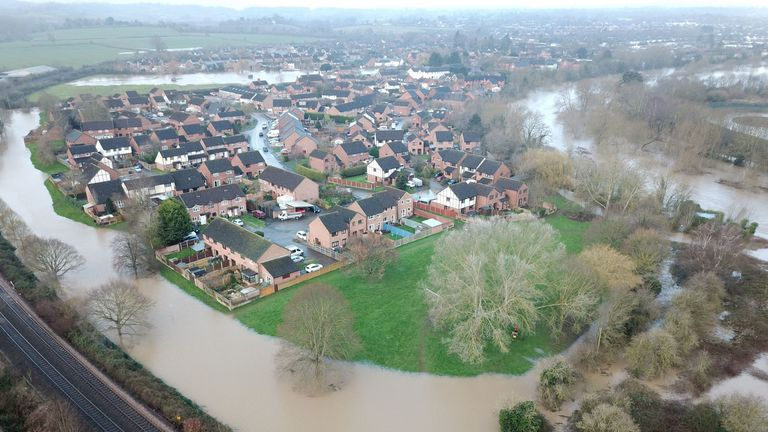 Flooding in Lower Bullingham, Hereford, in the aftermath of Storm Dennis