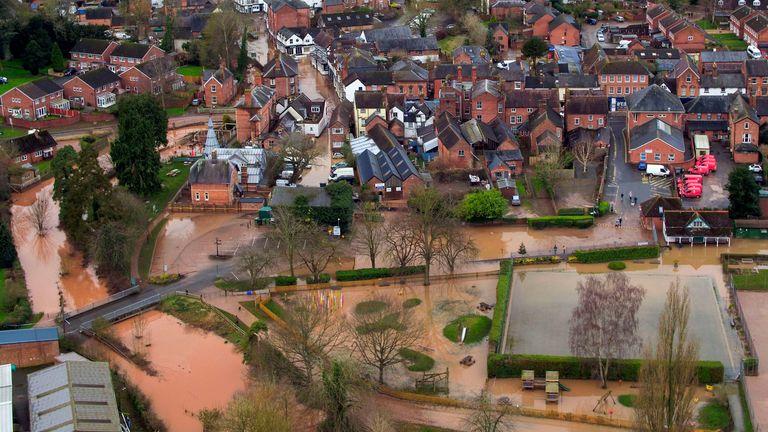 Flood water in Tenbury Wells, Worcestershire