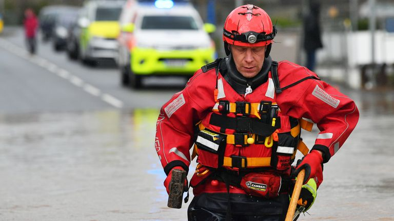 A member of the Mountain Rescue team in Monmouth, Wales