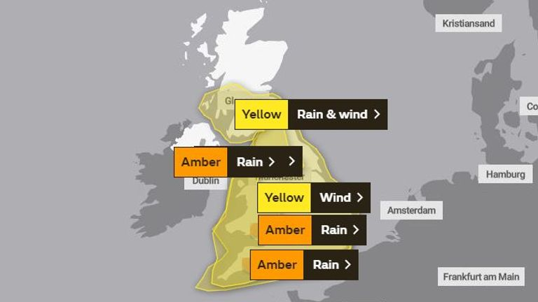 Weather warnings for Saturday. Pic: Met Office