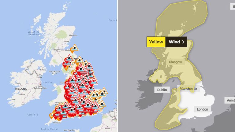 Numerous flood and wind warnings are in place. Pic: Met Office