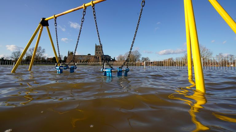 A playground in Tewkesbury is among the areas that has already fallen victim to flooding