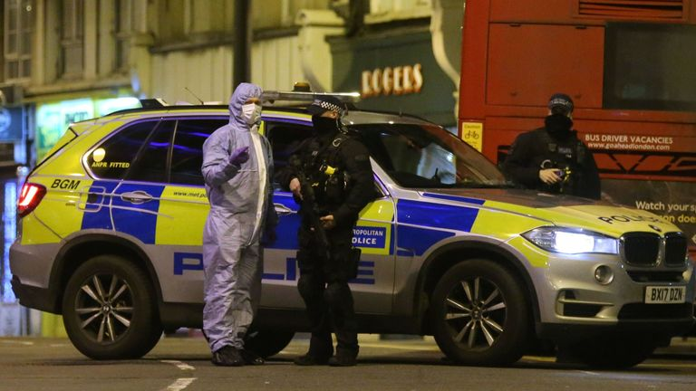Forensic experts at the scene of the terrorist attack in south London