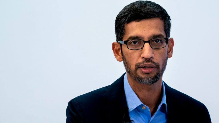 Google CEO Sundar Pichai speaks during a conference in Brussels