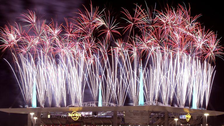 Fireworks lit up the sky at half-time