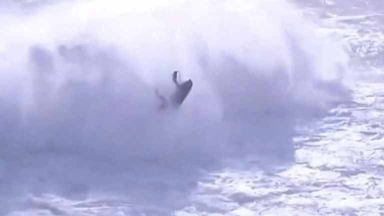 A surfer is seriously injured during a competition in Nazare, Portugal