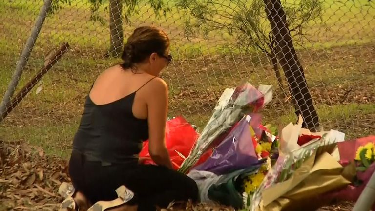 Family and friends at the scene of the tragedy