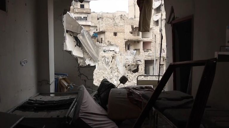 The hospital in Ariha, south of Idlib, was destroyed when it was hit two weeks ago