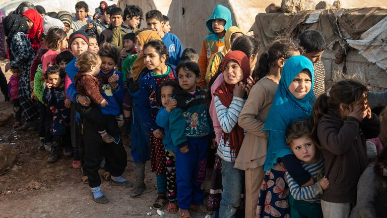 Some 60% of the 900,000 people who have fled Idlib province are children, says the UN