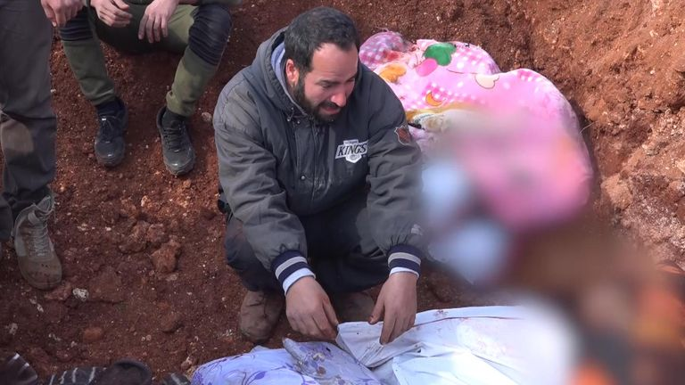 An uncle of some of the children killed in the van sobbed over their bodies