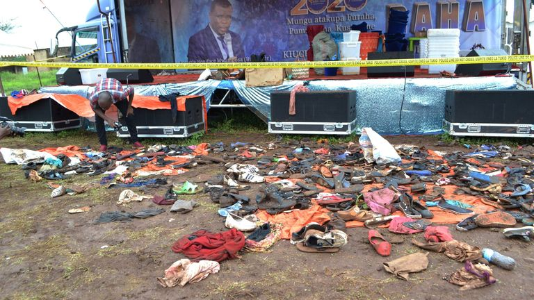 The aftermath of the deadly stampede at the outdoor prayer meeting that also left 16 injured