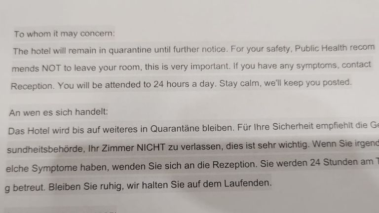 Notes passed under room doors warned holidaymakers not to leave their room