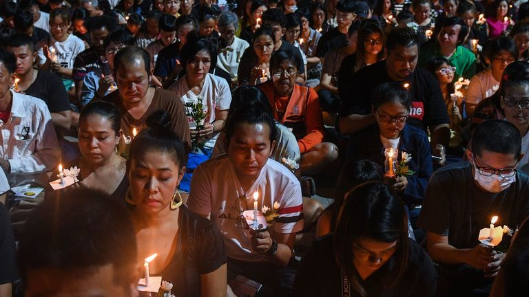 A candle light vigil was held for the victimsof the mass shooting