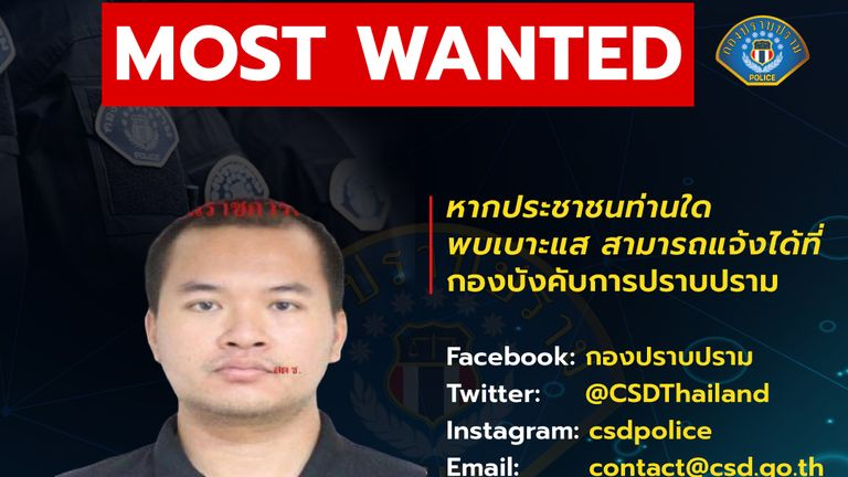 Thailand Police have issued a wanted poster as they attempt to arrest the suspect
