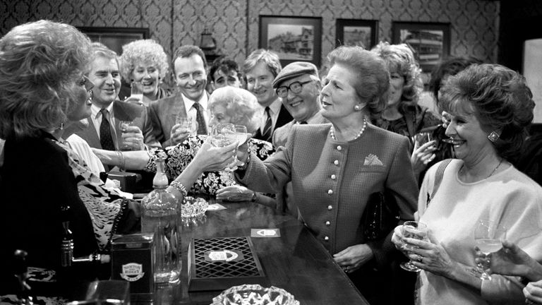 Margaret Thatcher toasting Julie Goodyear and the cast of Coronation Street when she visited the Rovers Return at Granada Television Studios in Manchester