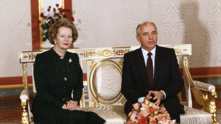Prime Minister Margaret Thatcher with Soviet leader Mikhail Gorbachev during a visit to Moscow, March 1987