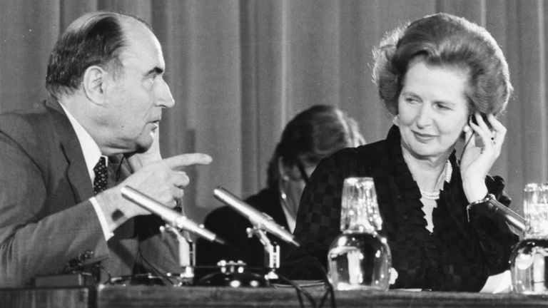Margaret Thatcher and French President Francois Mitterand